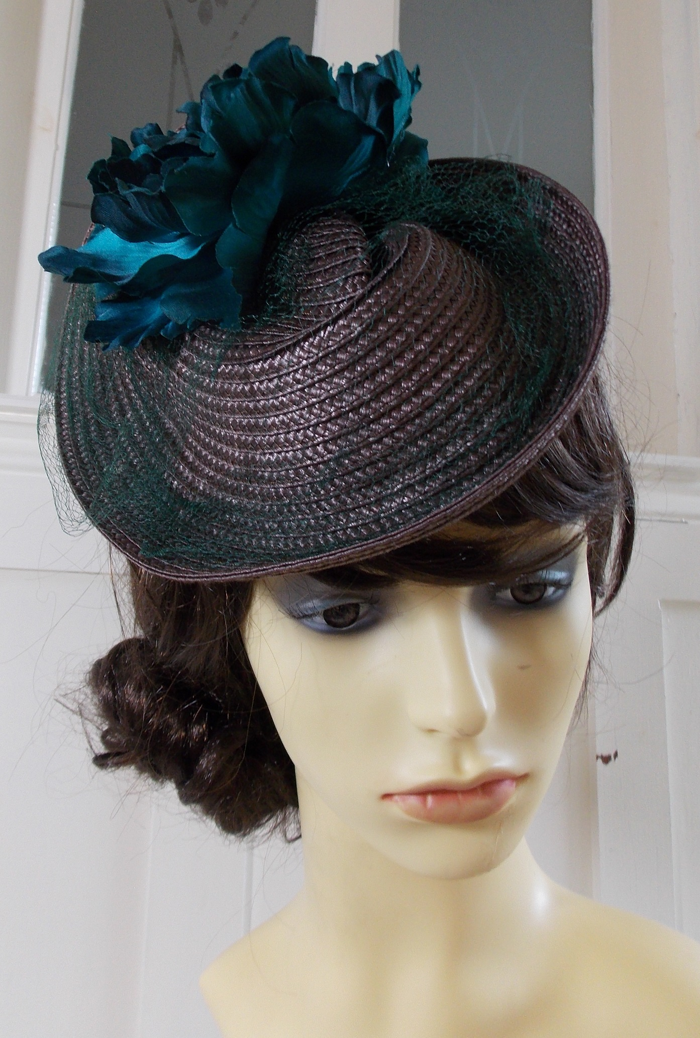 Brown and teal headpiece 1