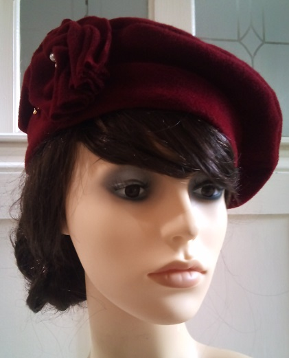 Angora mix wool beret with handmade flower hat pin detail 2