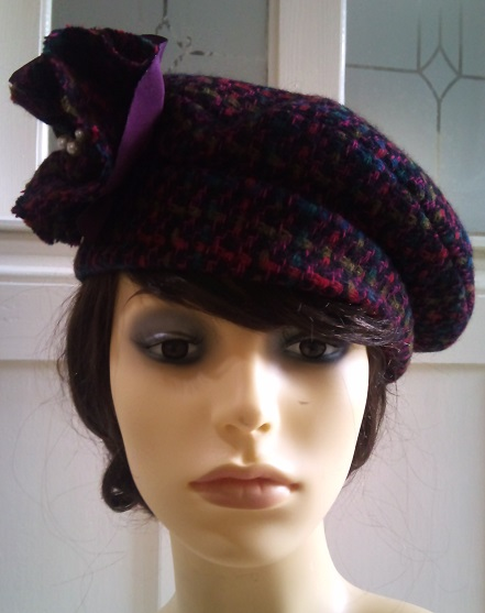 Mix tweed with handmade flower hat pin detail 2