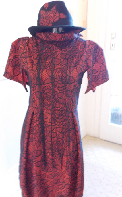 Red fringe dress with matching Turilby hat