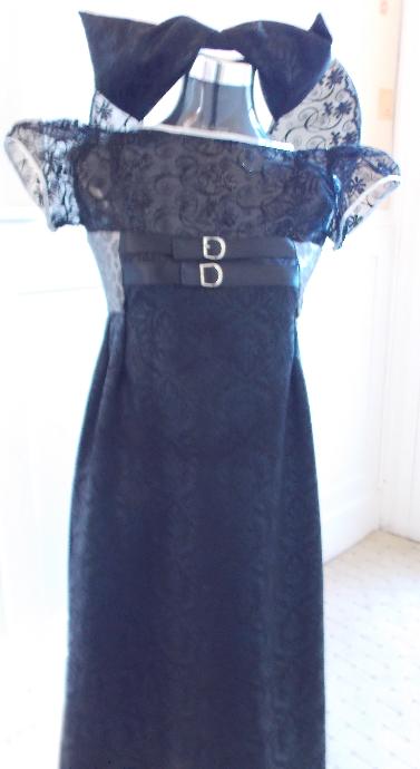 black high waist dress and big brim with big bow matching hat