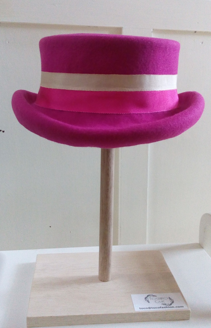 Fuchsia dressage hat from front