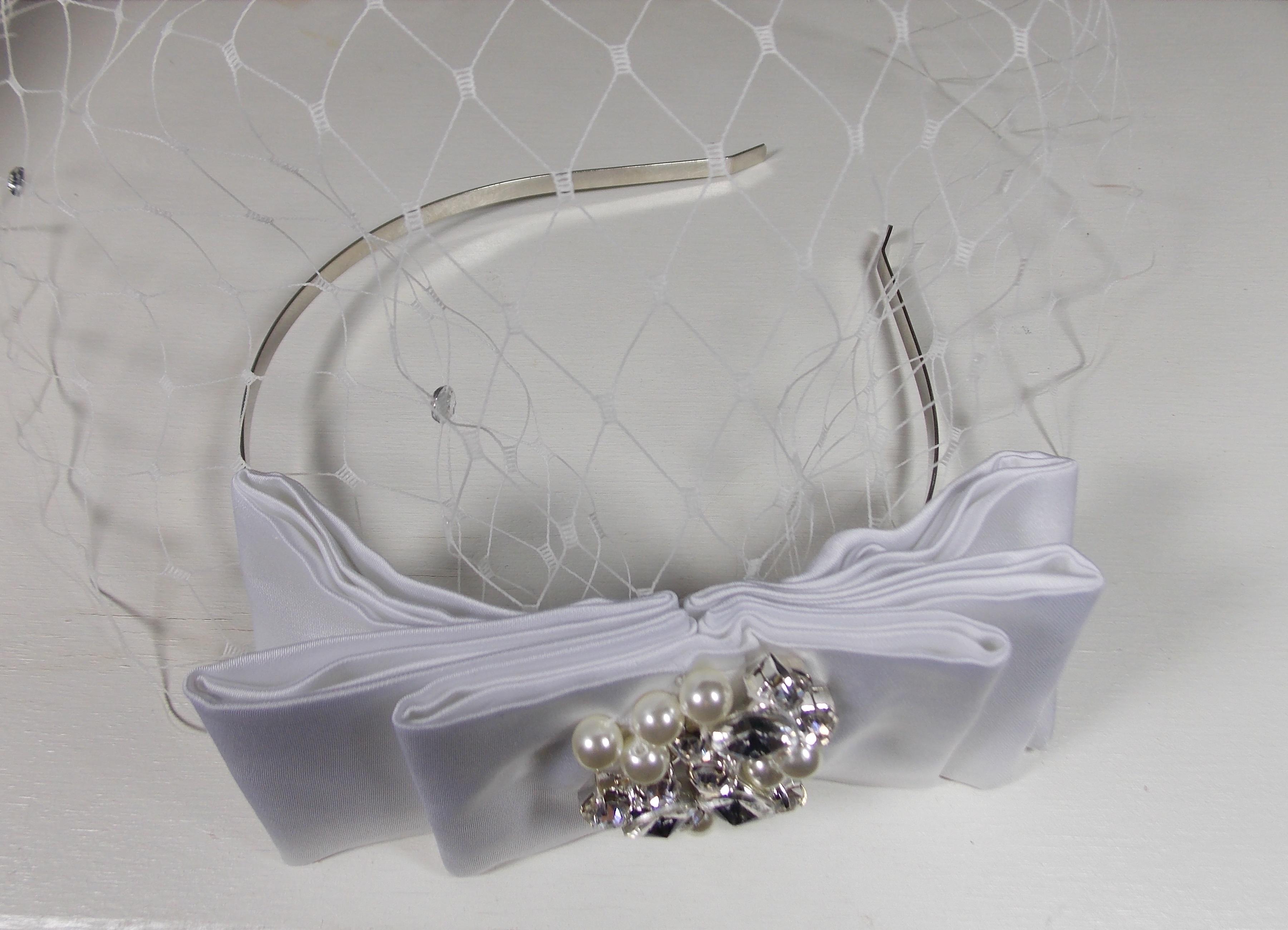Bridal headpiece bow and birdcage on headband 1